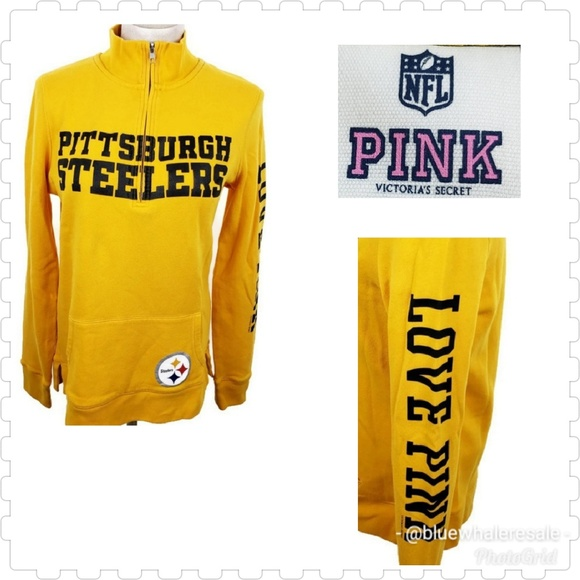342998b14c3 Victoria s Secret PINK 1 4 zip Pittsburgh Steelers.  M 5b37e56ebaebf68aeb5fb6c0